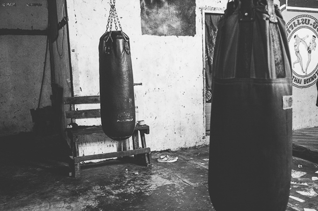 punching bags in Thai gym