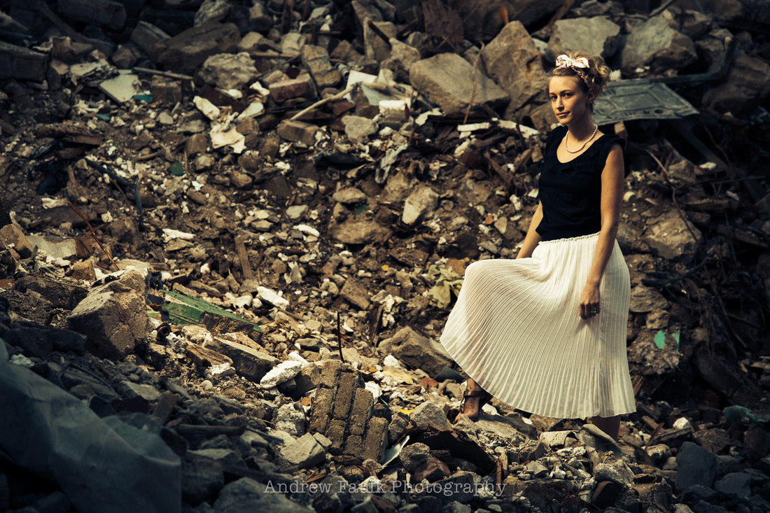 Laura on rubble