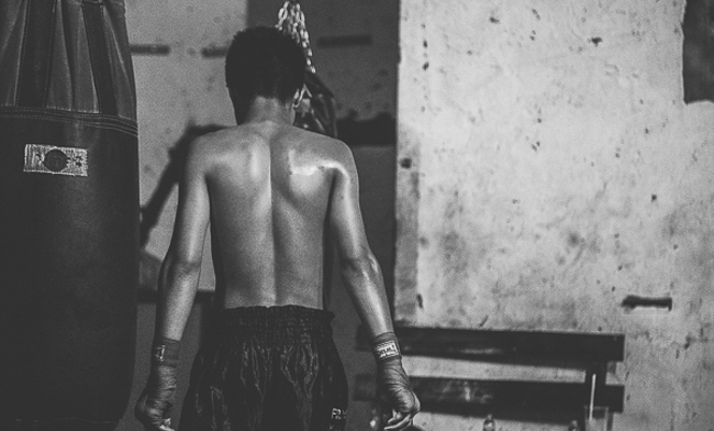 muay thai fighter from behind