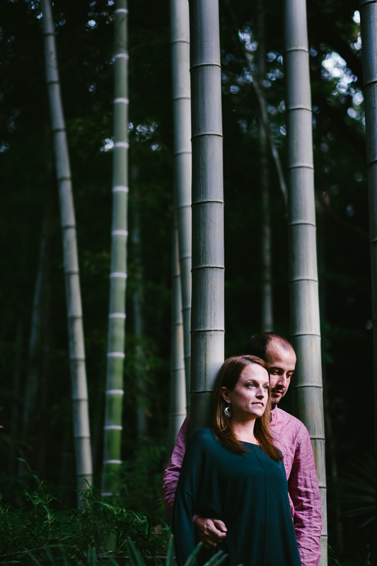 portrait of a couple in bamboo