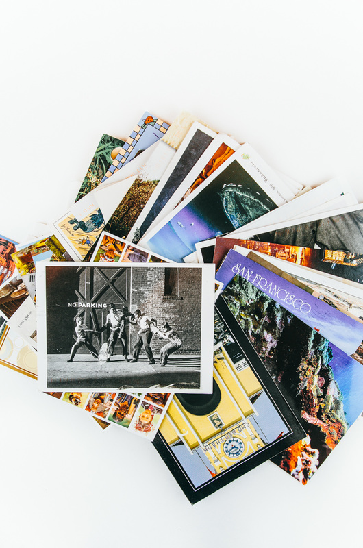 collection of colorful postcards