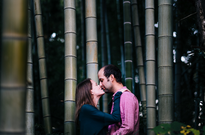 Couple kissing in bamboo grove