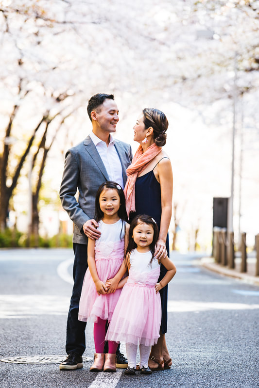 family portrait in sakura street