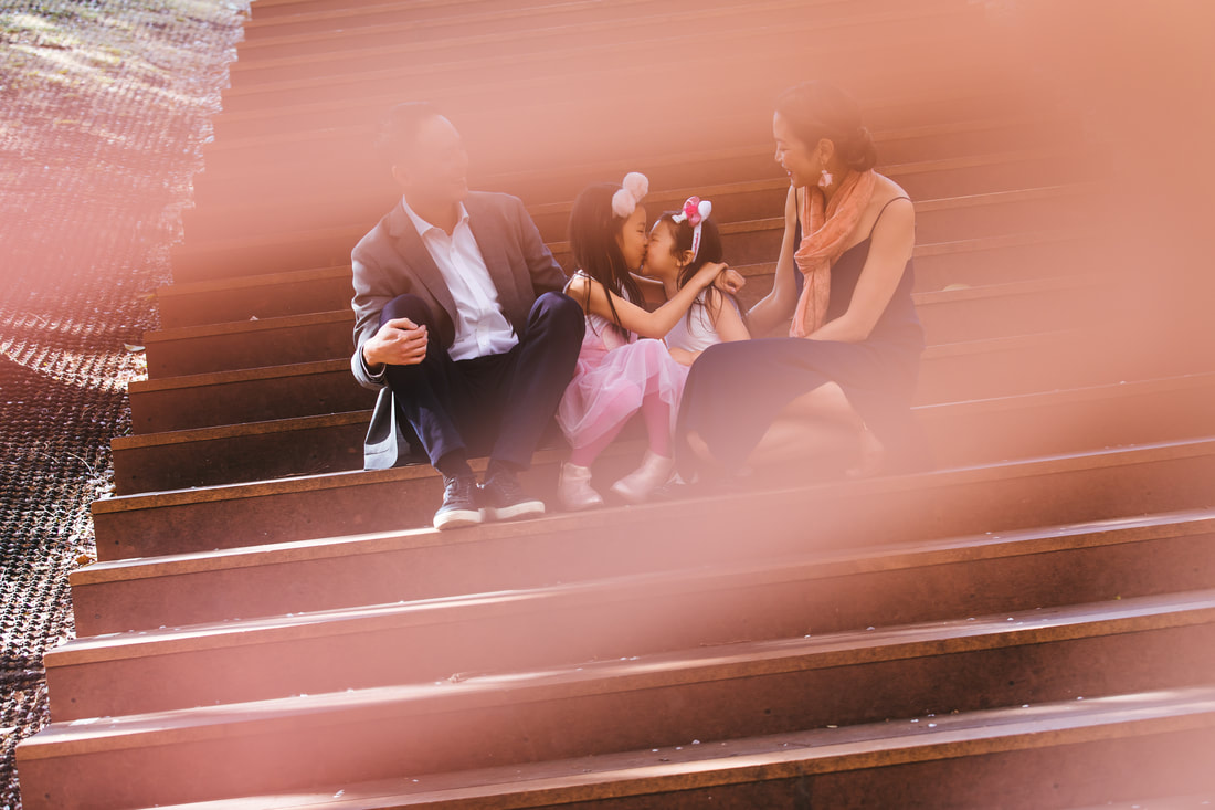family portrait on steps