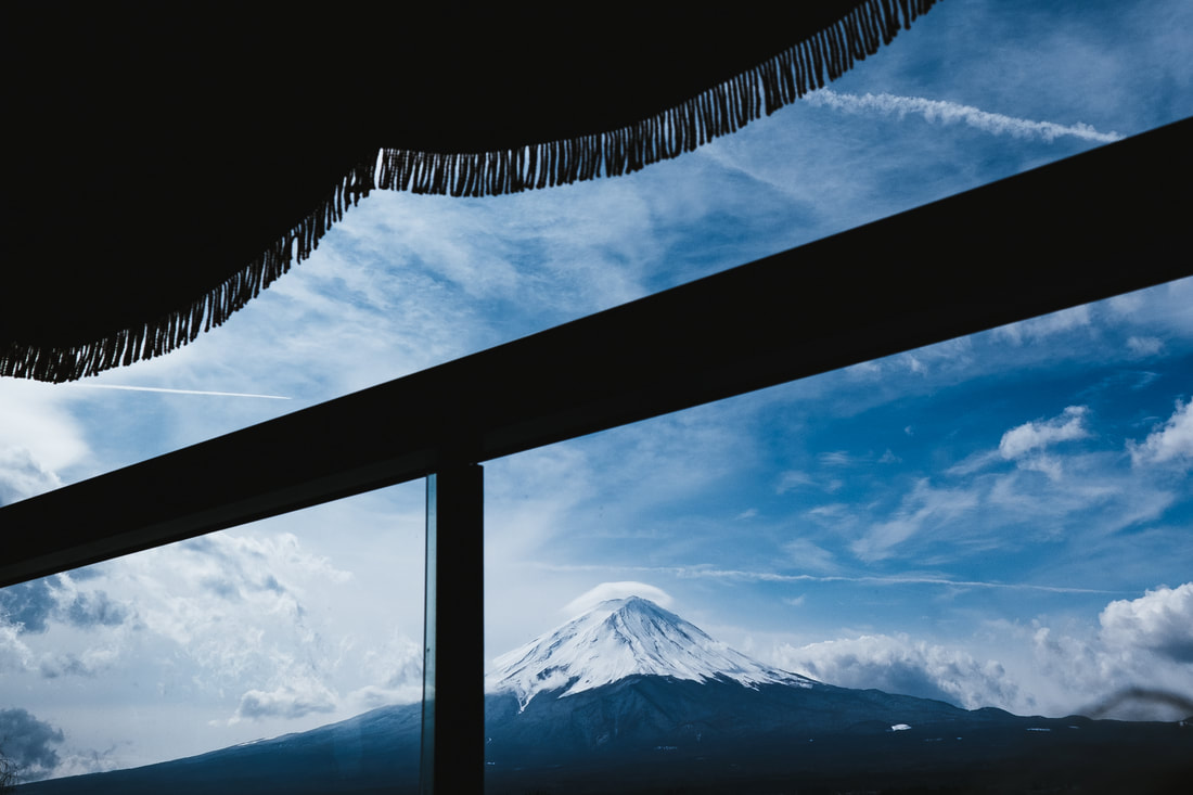 Mt. Fuji from inside a bus