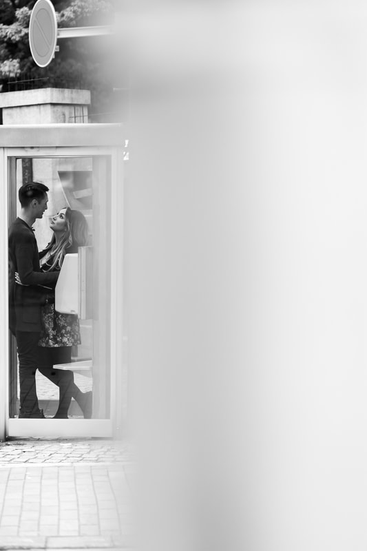 Samar and Matt in phonebooth