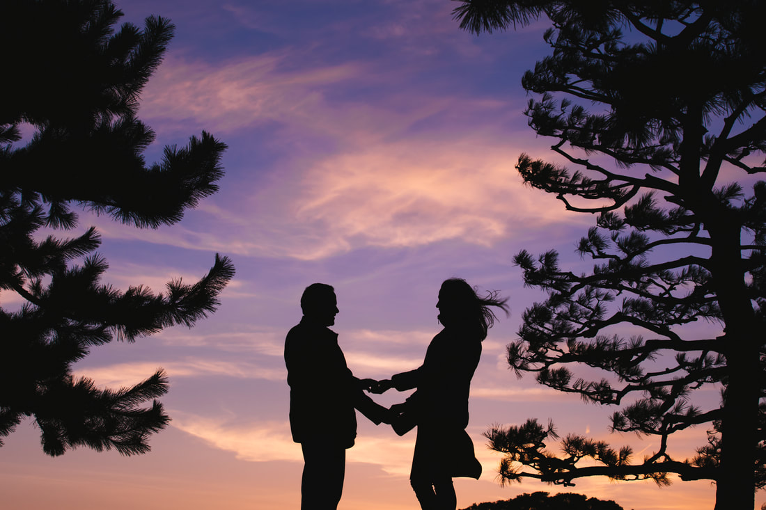 silhouette of couple in trees