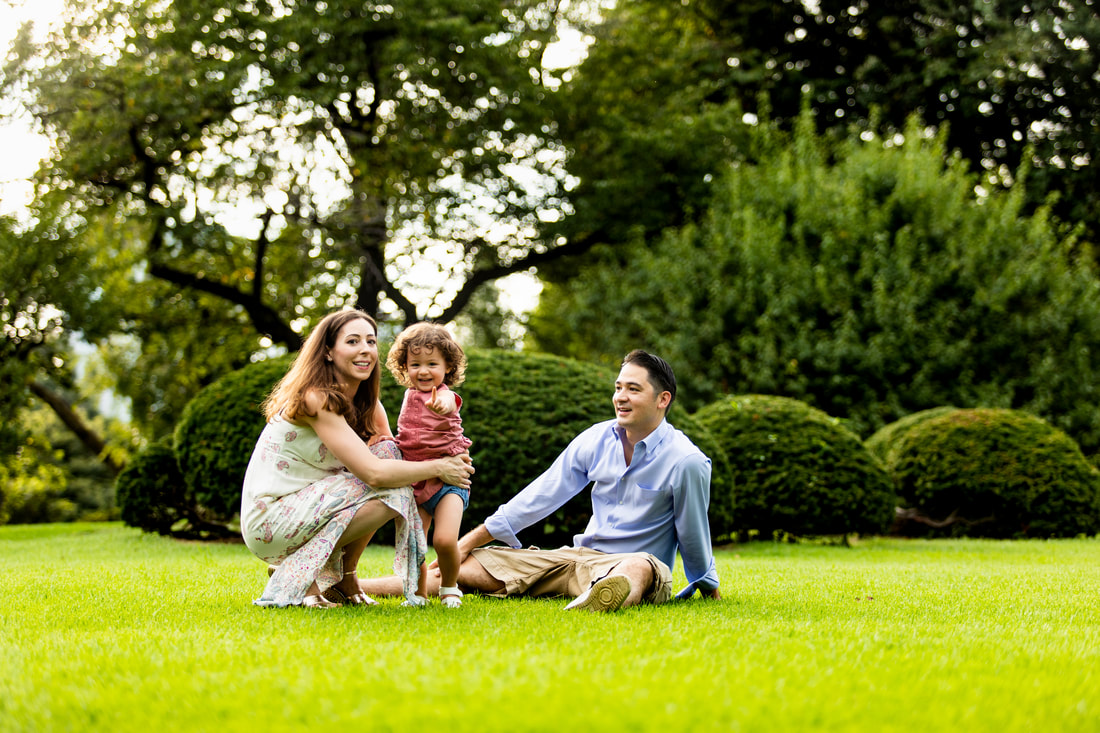 Family in green space